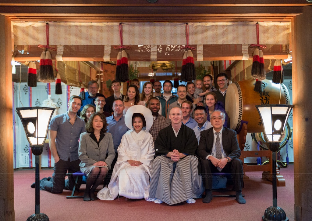 Group shot of our traditional Japanese wedding at a Shinto Shrine