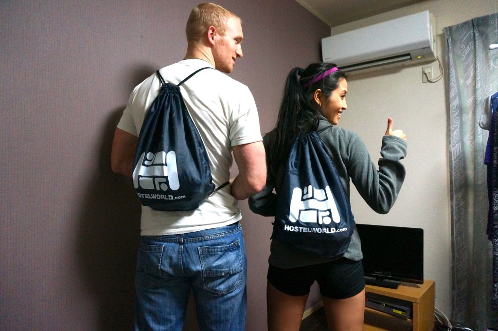 Something borrowed (we will lend something to someone from the pack), something blue (our Hostelworld knapsack!)