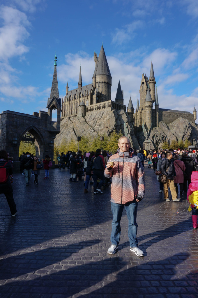 Drinking Butter Beer at Hogwarts Castle, Universal Studios Osaka, Japan